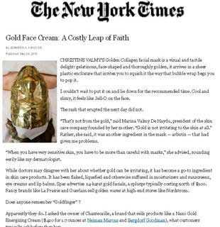 The New York Times: Dr. Hellman speaks about the use of gold-based facial creams