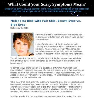 ScarySymptons.com: Dr. Hellman speaks about the risk of Melanoma with Fair Skin, Brown Eyes vs. Blue Eyes